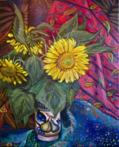 Sunflower-oil-on-canvas-painted-by-©-Carla-Strozzieri-2012