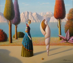 afternoon promenade,26x30,oil on canvas,Eugen Gordiets