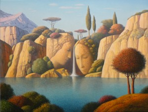 waterfall,20x26,oil on canvas,Eugen Gordiets