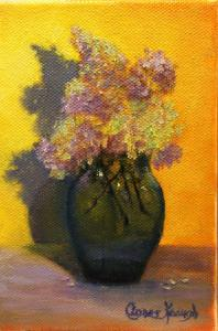 Dried Flowers in a BLue Vase